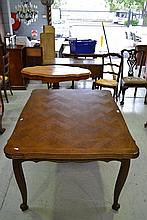 French Louis XV oak drawer leaf dining table,