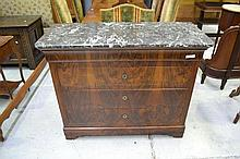 Antique French 19th century Walnut and marble