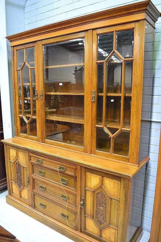 Fine antique English faded Mahogany three door