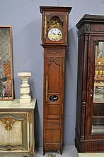 Antique French oak cased longcase clock, has key,