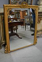 Antique gilt mantle mirror, approx 98cm W X 114cm