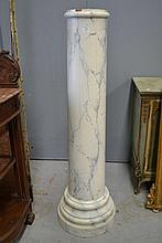 Antique French faux marble painted pine column,