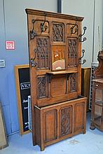 Antique French Gothic carved oak hallstand, approx