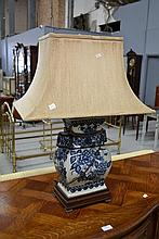 Oriental blue & white lamp, approx 69cm H