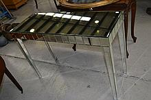 Modern mirrored console table, approx 75cm H x