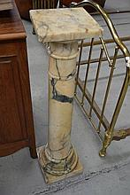 Antique French turned marble column, approx 110cm
