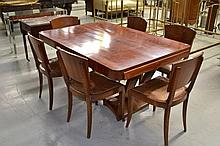 French Art Deco Mahogany table and matching set of