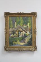 Harold Septimus Power (1878-1951) Australia, untitled, ladies near thatched cottages oil on canvas SLR, approx. 48cm x 38cm