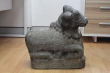 Antique black granite large Nandi the Indian bull figure showing signs of being 1700's or earlier. Approx 44cm L x 24cm W x 50cm H