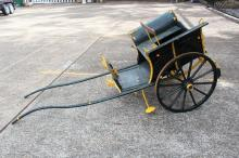 Antique French hand painted horse cart, approx 220cm L