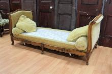 Antique French day bed, with cushions, approx 218cm L