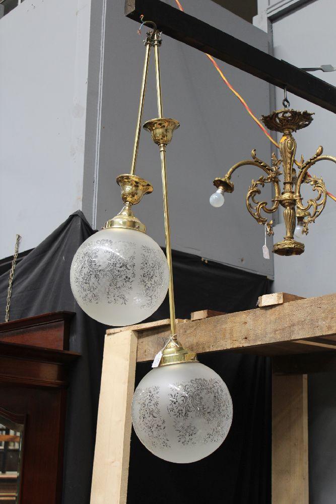 Pair Of Single Brass Hanging Lights 2