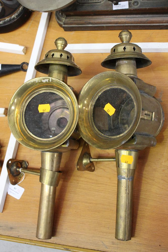 Pair of french brass car carriage lamps each approx 45cm for Car carriage
