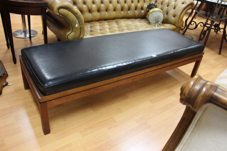 Vintage 1960 39 s long bench with black upholstered cushion ap Long upholstered bench