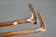 Two antler handled walking canes with metal