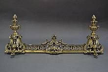 Antique English polished brass fender, cast with