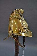 Antique Brass Fireman's helmet, numbered 136, of