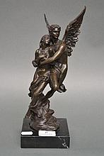 Bronze winged figure group, approx 32cm H