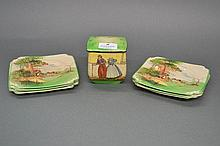 Royal Doulton six cake plates with a lidded box