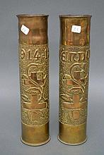 Pair of French WWI brass trench art vases, Verdun