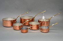 Set of seven French copper cooking pans (7)