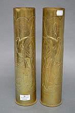 Two French WWI brass trench art vases, approx 35cm