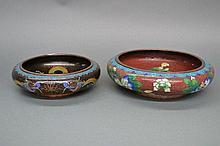 Two Cloisonné bowls, approx 25cm D and 20cm D
