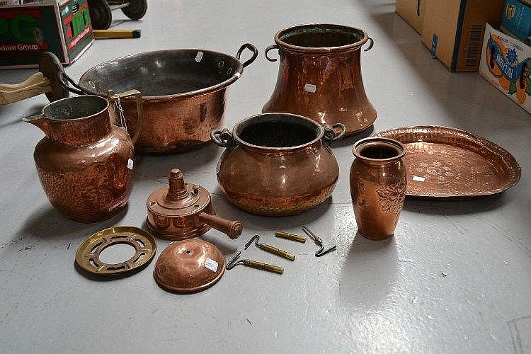 French copper jug, pot, plate and small preserving