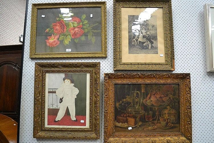 Selection of prints, to include roses, still life,