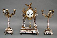 Antique Louis XVI style marble mantle clock and