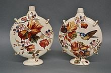 Pair of antique Moon flask shape pottery vases,