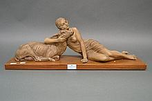 French Deco Figure group of a lady and a fawn on