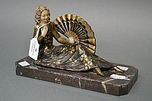 French Art Deco figure on marble base