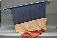Antique early 19th century French flag, fitted on