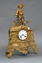 Antique French figural clock, of a farmer and