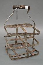 Antique French gal metal four bottle basket, 33cm