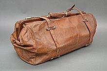 Vintage French brown leather travelling bag