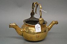Antique European polished bronze hanging oil lamp
