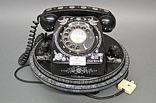 Chinese lacquer phone on revolving pedestal