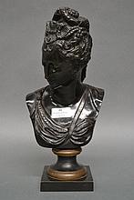 Antique bronze bust of a classical female, 35 cm