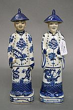 Two similar Chinese blue & white porcelain figures