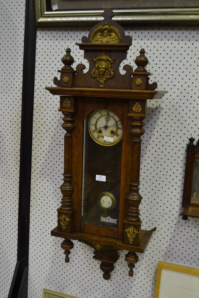 Antique French Wall Clock Has Key Amp Pendulum Approx 105cm