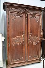 Antique French carved oak Normandy two door