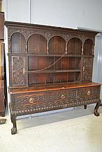 Antique English oak Welsh dresser, three drawer