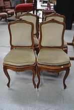 Four antique French Louis XV walnut style chairs