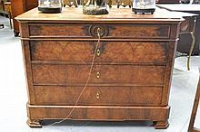 Antique French Louis Philip figured Walnut four