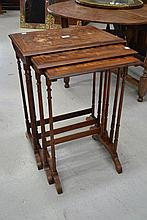 Fine antique inlaid Rosewood nest of three tables