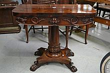 Antique William IV rosewood fold over card table,