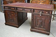 Antique French oak twin pedestal desk fitted with