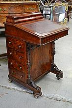 Antique Victorian walnut inlaid Davenport,